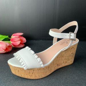 Kate Spade Tomas Ruffle Cork Platform Sandals New